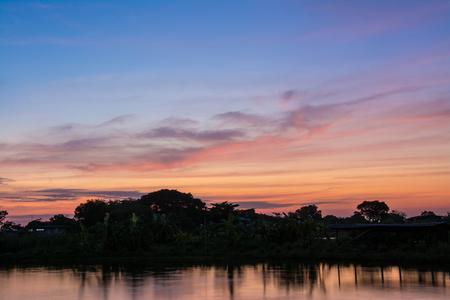 samutprakarn: Sunset at twilight at pond  ,Samutprakarn Thailand