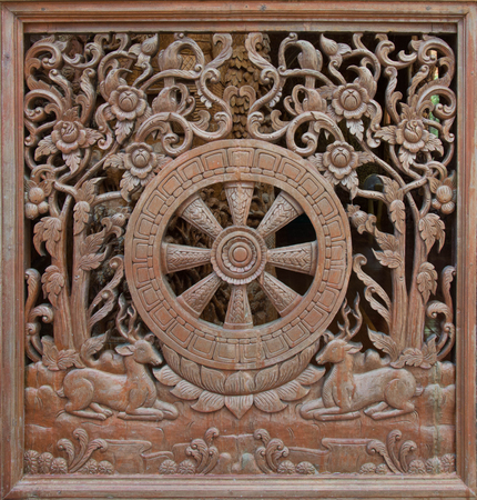 perforated: Carved wooden latticework with pattern of Dhammajak Stock Photo