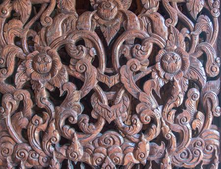 latticework: Carved wooden latticework with pattern of thai stlye Stock Photo