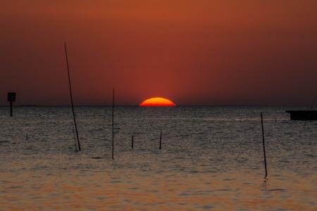 samutprakarn: sunset above the sea in Bangpu ,Samutprakarn in Thailand