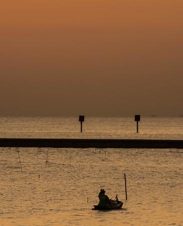 samutprakarn: sea at twilight in Bangpu ,Samutprakarn in Thailand Stock Photo