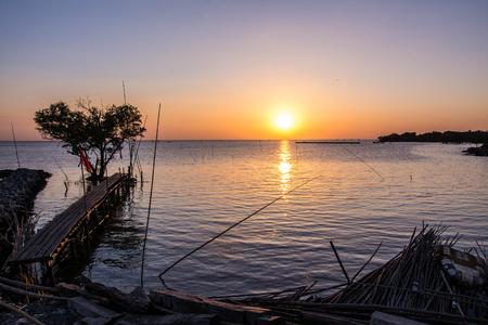 samutprakarn: Tree in the shape of heart with wood bridge on the sea at twilight in Bangpu ,Samutprakarn in Thailand Stock Photo