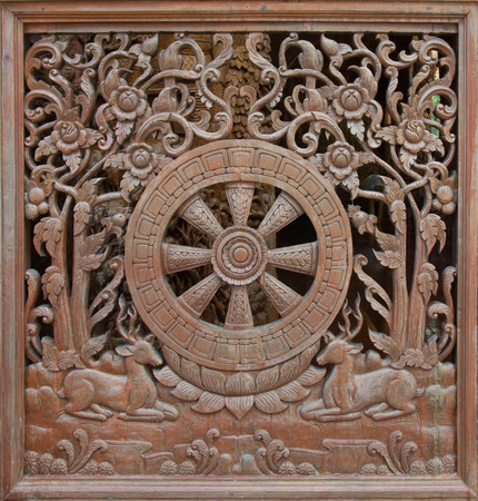 wood molding: Carved wooden latticework with pattern of Dhammajak Stock Photo