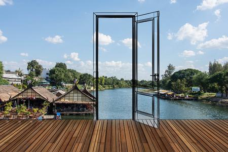 kanchanaburi: Landscape behind the opening door Stock Photo