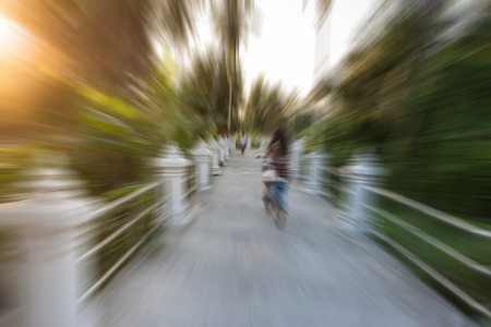 stoop: on the road with motion blur in the nature