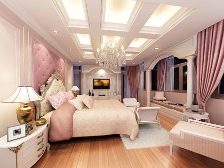 3d rendering of interior luxury bedroom