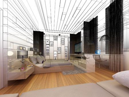 modern interior design: abstract sketch design of interior bedroom