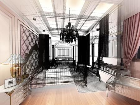bedroom design: abstract sketch design of interior luxury  bedroom Stock Photo