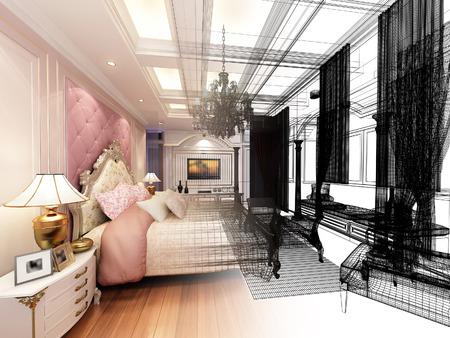window frame: abstract sketch design of interior luxury  bedroom Stock Photo