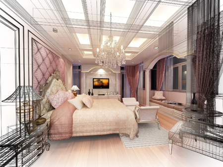modern house sketch: abstract sketch design of interior luxury  bedroom Stock Photo