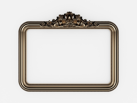 painting on the wall: 3d empty vintage frames on white wall Stock Photo