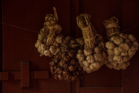 clove plant: Still life of garlic and onion with wooden wall background