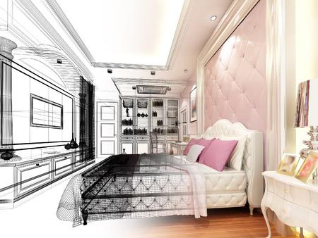 bedroom design: abstract sketch design of interior luxury bedroom