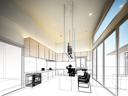 modern kitchen: abstract sketch design of interior kitchen