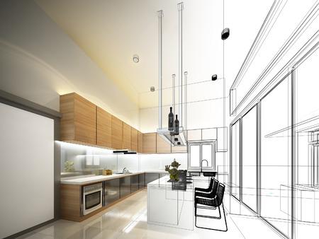 kitchen window: abstract sketch design of interior kitchen