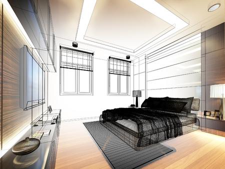 bed room: abstract sketch design of interior bedroom
