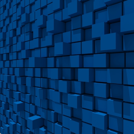 cubic: 3d rendering of blue cubic random level background.