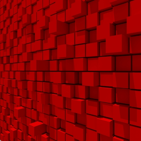 cubic: 3d rendering of red cubic random level background. Stock Photo