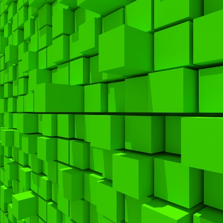 cubic: 3d rendering of green cubic random level background.