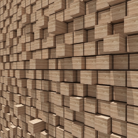 cubic: 3d rendering of wood cubic random level background.