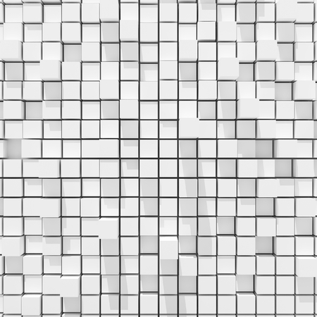 cubic: 3d rendering of white cubic random level background. Stock Photo