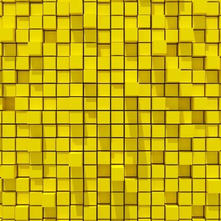 random: 3d rendering of yellow cubic random level background. Stock Photo