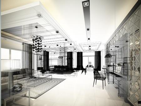 raod: sketch design of living ,3dwire frame render