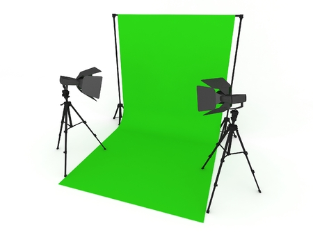 tubus: Photo Studio with Green Screen and Light Equipment isolated on white background