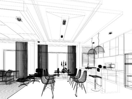 disegno astratto disegno di sala interna e una sala cucina, 3d