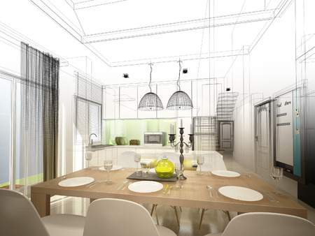 furniture idea: abstract sketch design of interior dining and kitchen room ,3d