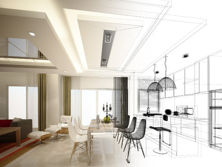 interior window: abstract sketch design of interior dining and kitchen room ,3d