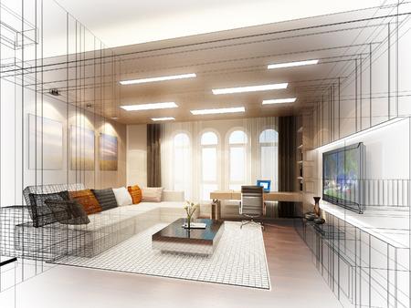 disegno schizzo di soggiorno, cornice 3dwire render Archivio Fotografico