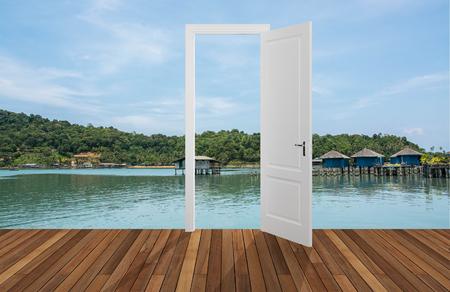 opening door: Landscape behind the opening door Stock Photo