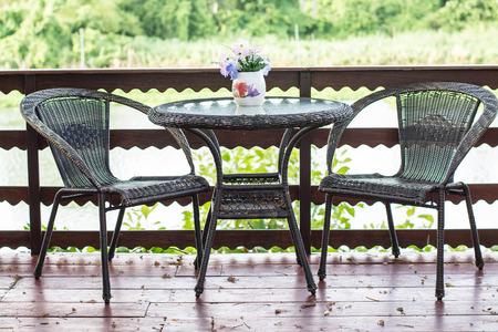 cane sofa: black Rattan armchair