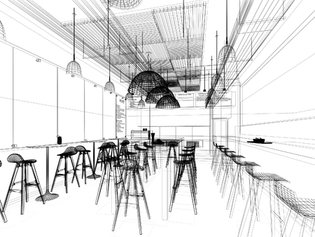 resturant: sketch design of resturant ,3d wire frame render