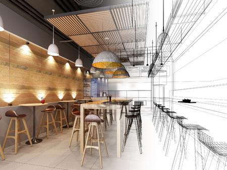 disegno schizzo di ristorante, fil di ferro rendering 3d Archivio Fotografico