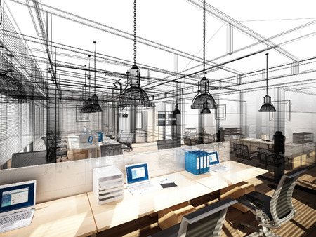 architect office: sketch design of interior office, 3d interior wire frame