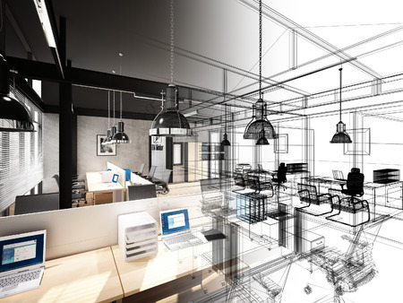 wire frame: sketch design of interior office, 3d interior wire frame
