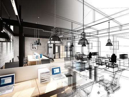 Skizze Design inter Büro, 3d inter Drahtrahmen