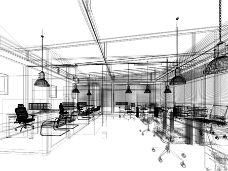 インテリア オフィス、3 d インテリア ワイヤー フレームのデザインをスケッチします。 写真素材