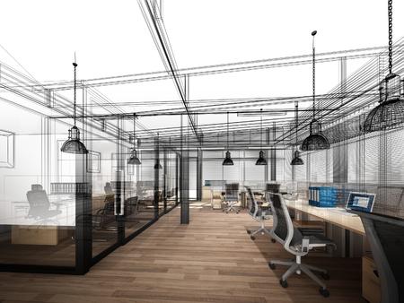 sketch design of interior office, 3d interior wire frame