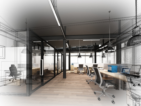 인테리어 사무실, 3d 인테리어 와이어 프레임의 스케치 디자인