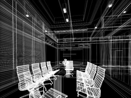 wire frame: sketch design of interior conference room, 3d rendering wire frame