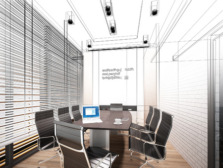 wire frame: sketch design of interior conference room, 3d rendering wire frame
