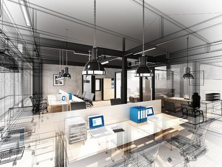 disegno schizzo di ufficio interno, 3d wire frame interni