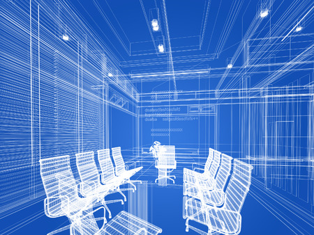 conference room: sketch design of interior conference room, 3d rendering wire frame