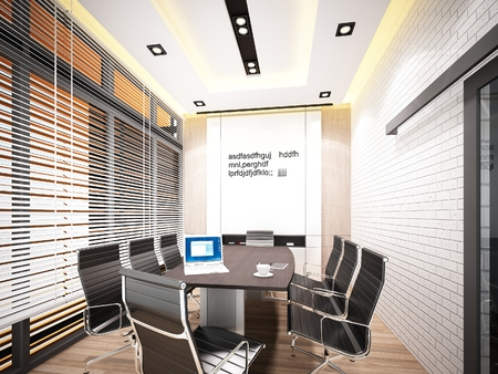 conference room: 3d rendering  of interior conference room Stock Photo