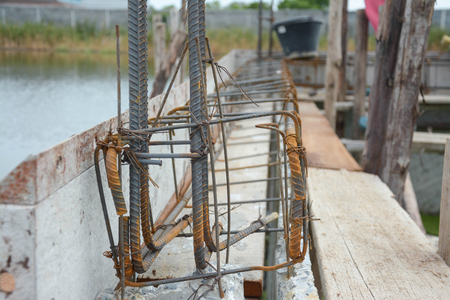 berm: Steel tie of ground beam waiting for concrete work