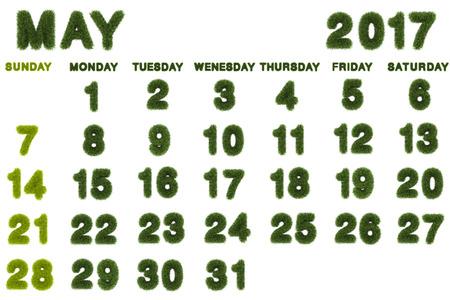 Calendar for May 2017 on white background,3d rendering green grass Stock fotó