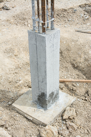 stanchion: foundation post in construction site